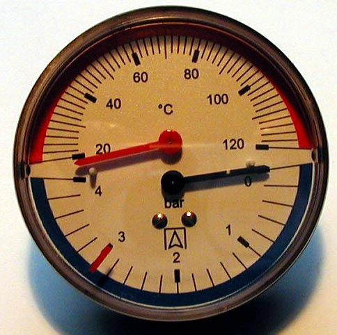 Heizungs - Thermo-Manometer, axial